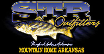 STR Outfitters lake norfork striper fishing logo